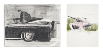 'Who killed Kennedy vs War Tank', pencil on paper, 2012
